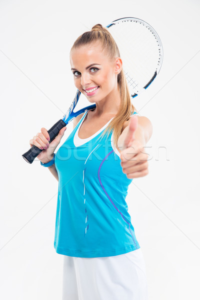 Stock photo: Woman holding tennis racket and showing thumb up