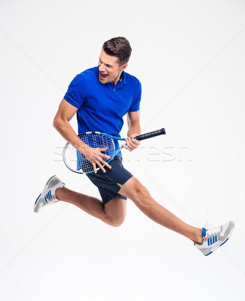 Stock fotó: Portré · vicces · teniszező · izolált · férfi · sport