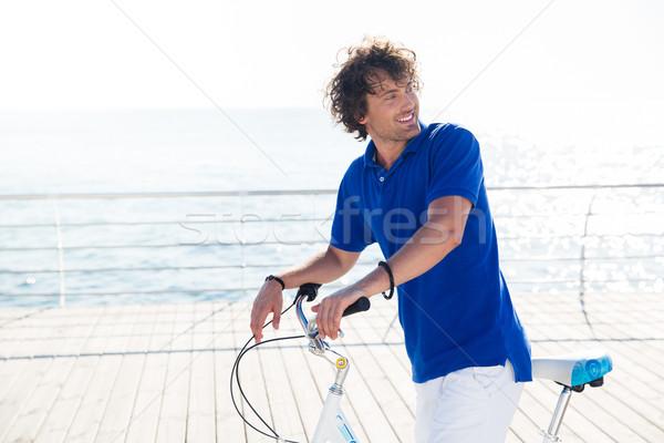 Foto stock: Hombre · bicicleta · aire · libre · retrato · sonriendo