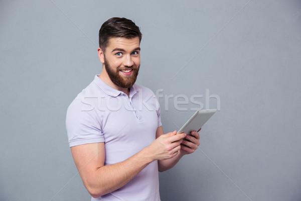 Uśmiechnięty przypadkowy człowiek portret Zdjęcia stock © deandrobot