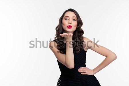 Vonzó lány fényes smink retró stílus küldés csók Stock fotó © deandrobot