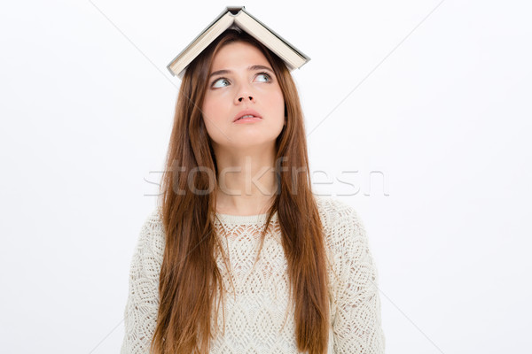забавный книга голову белый Сток-фото © deandrobot