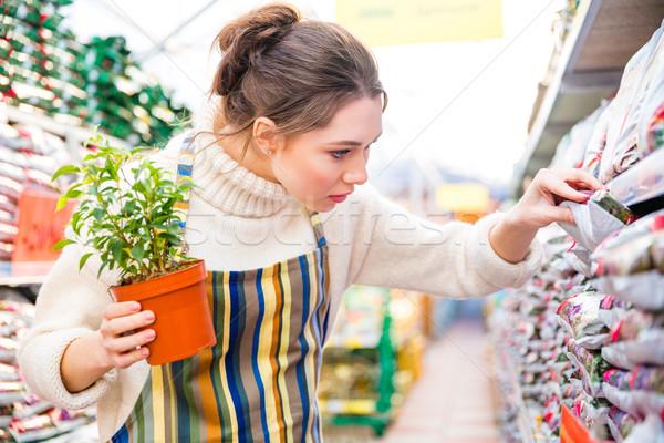 Töprengő nő kertész vásárlás kert bolt Stock fotó © deandrobot