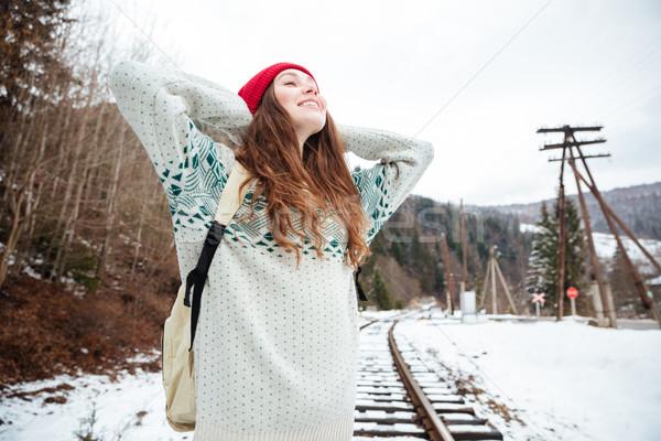 ストックフォト: 女性 · 立って · 屋外 · 幸せ · 森林