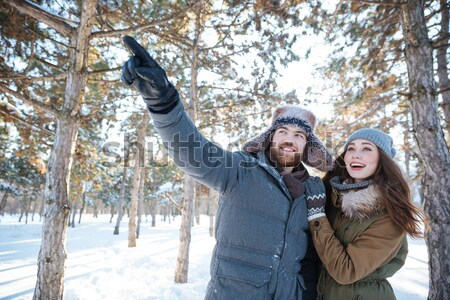 Beautiful young couple standing and enjoying winter forest Stock photo © deandrobot