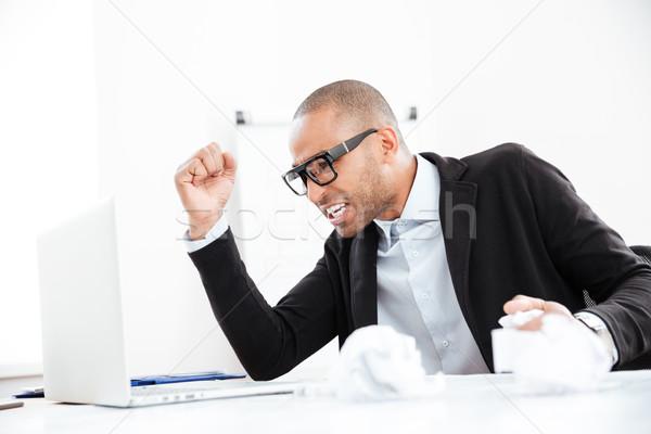 Biznesmen pracy formalności zły nerwowy Zdjęcia stock © deandrobot