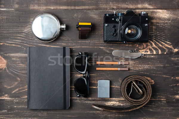 Trip concept - items of men's clothing and accessories Stock photo © deandrobot