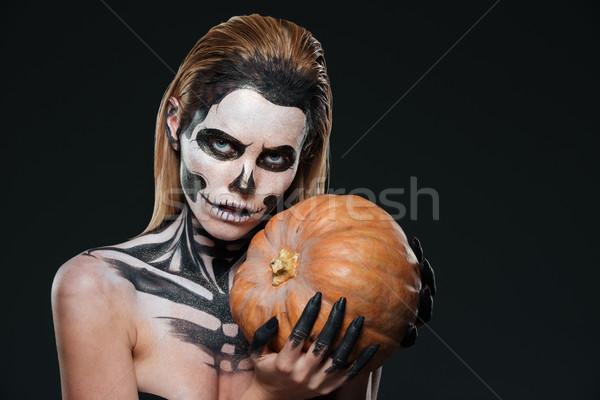 Donna scheletro halloween trucco zucca Foto d'archivio © deandrobot