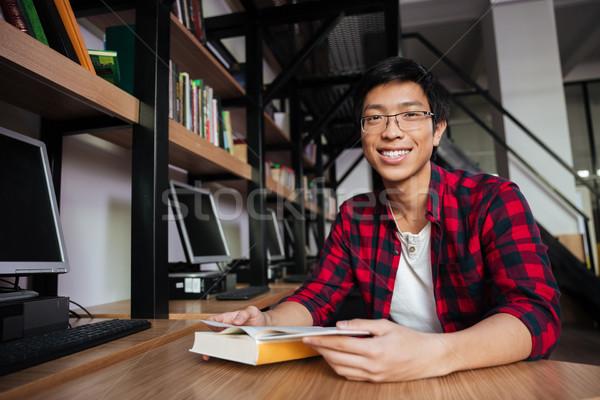 Stock fotó: Derűs · ázsiai · férfi · diák · olvas · könyv
