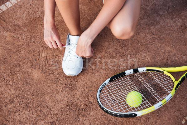 Tennis woman preparing Stock photo © deandrobot