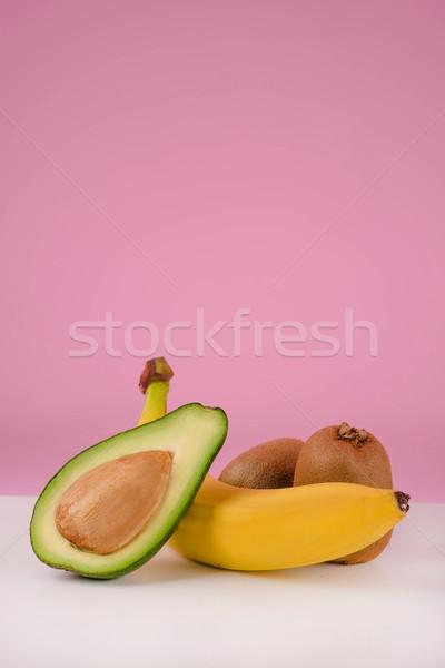 Stockfoto: Vers · vruchten · tabel · avocado · banaan