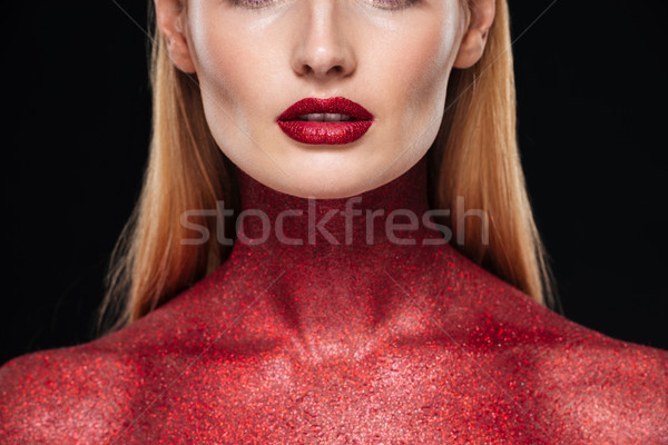 Cropped photo with woman with red body Stock photo © deandrobot