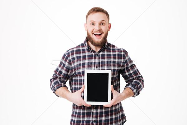 Mutlu adam gömlek ekran Stok fotoğraf © deandrobot