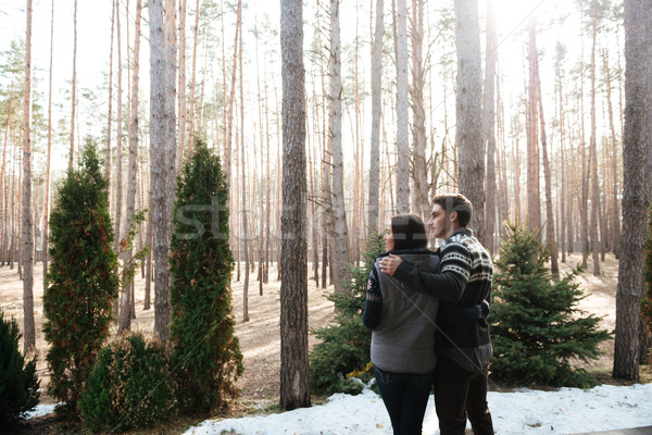couple hugging againsr forest Stock photo © deandrobot
