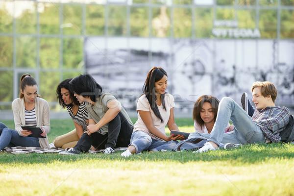 концентрированный студентов изучения улице фотография Сток-фото © deandrobot