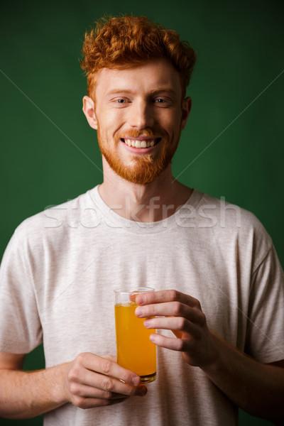 肖像 ハンサム あごひげを生やした 男 ガラス ストックフォト © deandrobot