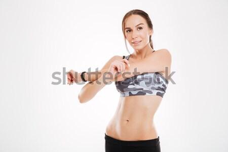 Gülen çekici fitness woman müsli bar Stok fotoğraf © deandrobot