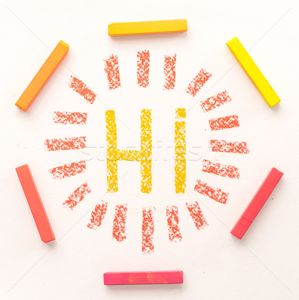 Top wiew of word HI inside a frame made of colorful pastel chalk Stock photo © deandrobot