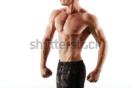 Fotó izzadt sportos férfi fekete rövidnadrág Stock fotó © deandrobot