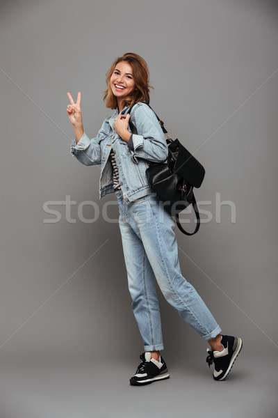 портрет Cute девушки джинсовой куртка Сток-фото © deandrobot