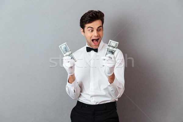 Foto stock: Retrato · feliz · excitado · masculina · camarero