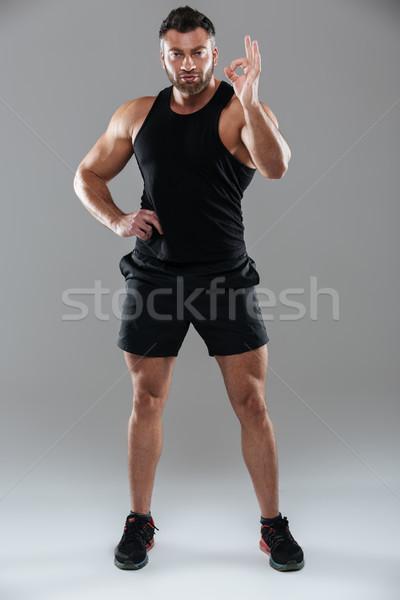 Tam uzunlukta portre konsantre güçlü erkek vücut geliştirmeci Stok fotoğraf © deandrobot