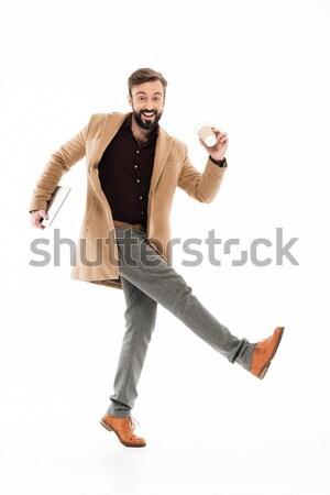 портрет молодые бородатый парень пальто Сток-фото © deandrobot