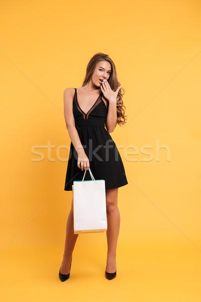 довольно молодые Lady черное платье Сток-фото © deandrobot
