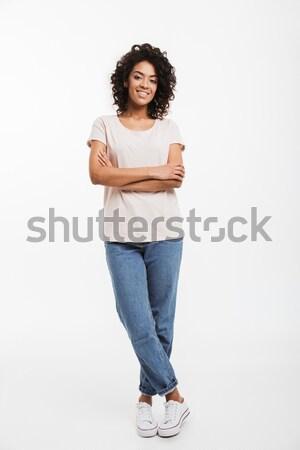 Foto stock: Retrato · hermosa · americano · mujer