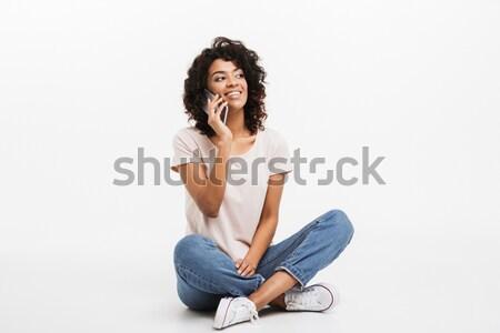 Porträt lächelnd jungen afro Stock foto © deandrobot