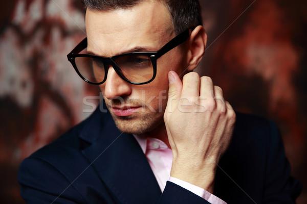 肖像 トレンディー ビジネスマン 眼鏡 インテリア ストックフォト © deandrobot