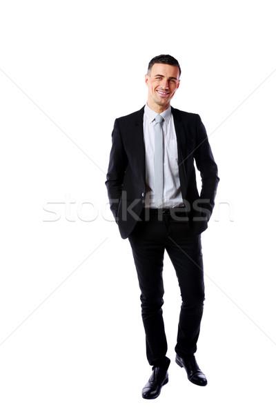 肖像 幸せ ビジネスマン 孤立した 白 手 ストックフォト © deandrobot