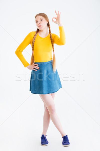 Сток-фото: женщину · вызывать · знак · пальцы