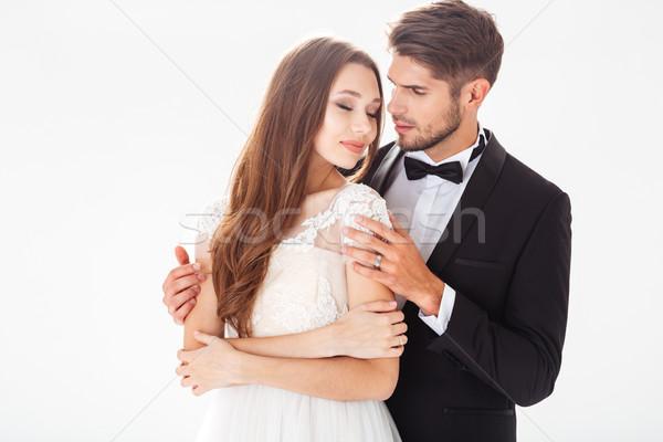 şık portre tatlı yeni evliler beyaz düğün Stok fotoğraf © deandrobot