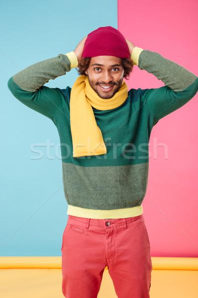 Sorridente africano americano moço seis cachecol Foto stock © deandrobot