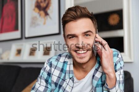 笑い 剛毛 男 話し 電話 ストックフォト © deandrobot