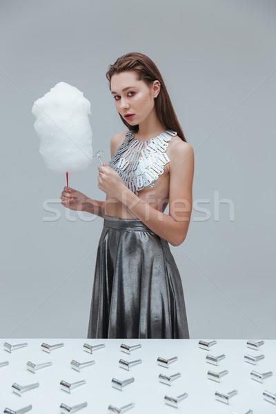 Сток-фото: женщину · хлопка · конфеты · Vintage · бритва · лезвия