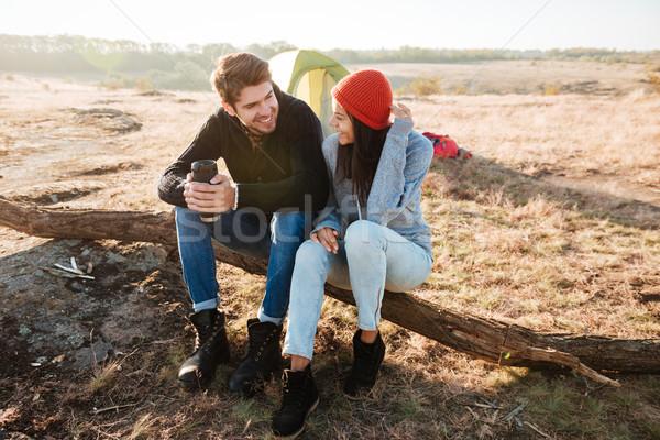 Couple near the tent Stock photo © deandrobot