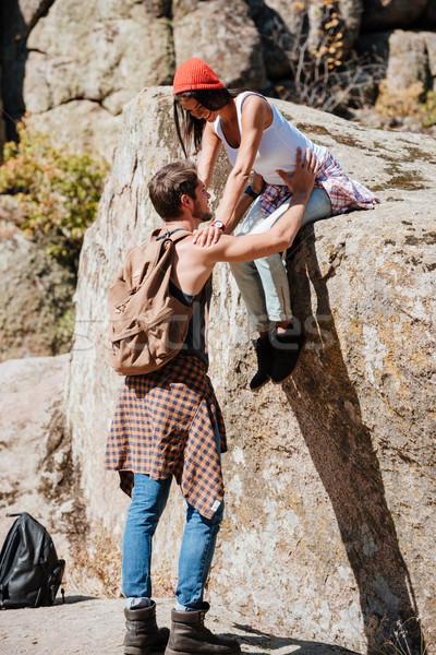 Zdjęcia stock: Człowiek · kobieta · zespołowej · wspinaczki · turystyka · lata