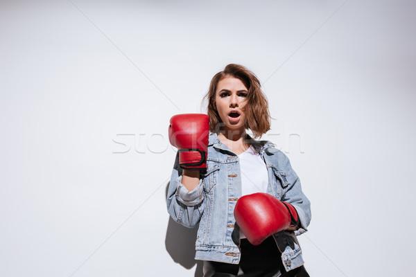 Nő boxoló izolált fehér kép csinos nő Stock fotó © deandrobot