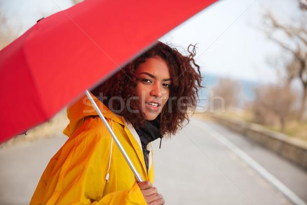 Nő néz kamera esőkabát visel citromsárga Stock fotó © deandrobot