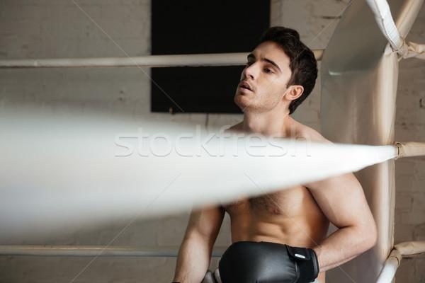 Stanco boxer rilassante angolo palestra giovane Foto d'archivio © deandrobot