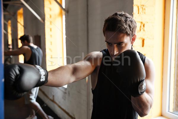 Forte boxer formazione palestra immagine giovani Foto d'archivio © deandrobot