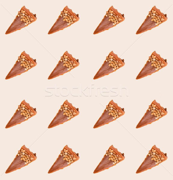 Pattern of caramel cheesecakes isolated Stock photo © deandrobot