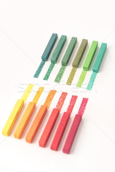 Közelkép kilátás színes pasztell művészet oktatás Stock fotó © deandrobot