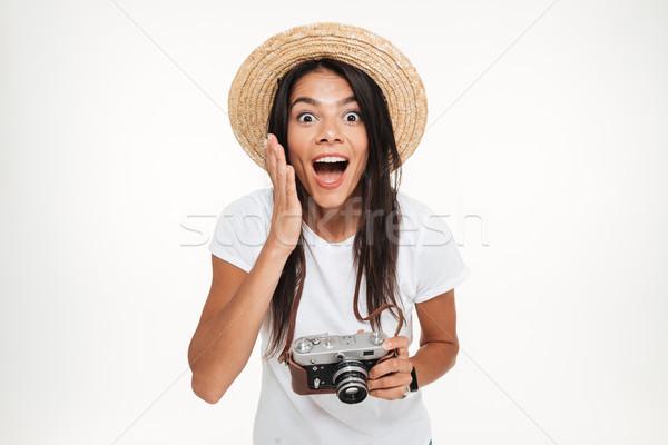 Retrato bastante excitado mujer sombrero Foto stock © deandrobot