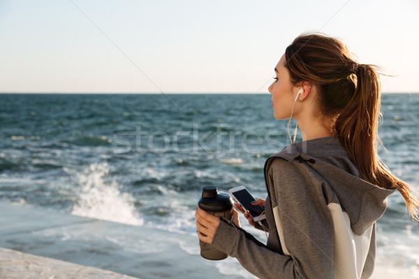 вид сзади молодые брюнетка спорт женщину Сток-фото © deandrobot