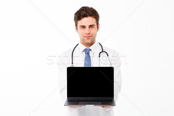 Foto stock: Retrato · jovem · médico · do · sexo · masculino · estetoscópio · uniforme
