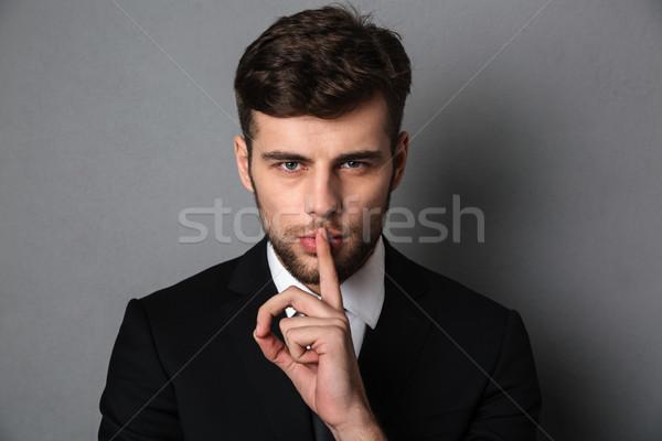 ストックフォト: クローズアップ · 写真 · 小さな · ハンサムな男 · 黒服