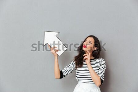 Foto alegre mulher publicidade produto Foto stock © deandrobot